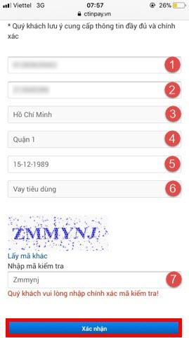 Nhập thông tin đăng ký vay tiền bằng SIM Mobifone