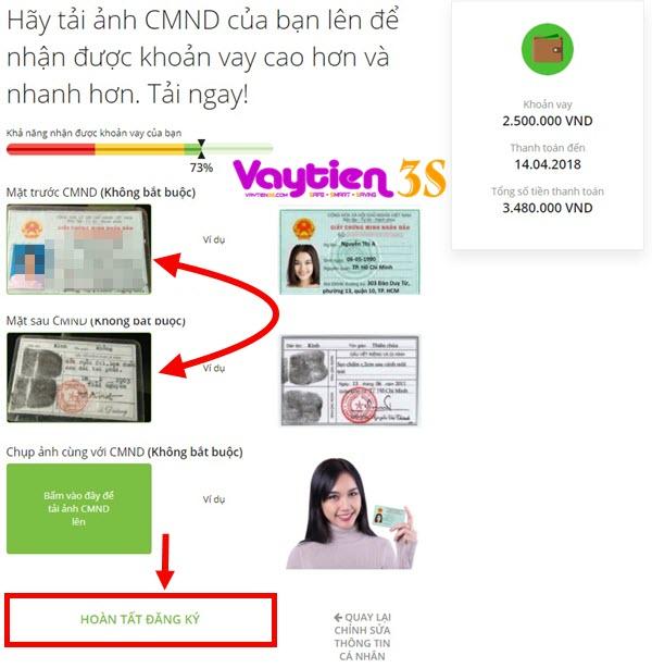 Tải ảnh CMT trong quá trình đăng ký vay tiền tại Doctor Đồng