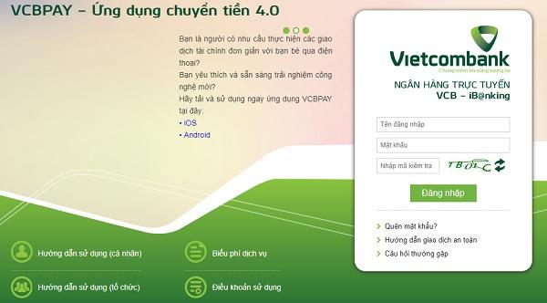 Đăng nhập Vietcombank Internet Banking (VCB-iB@nking)