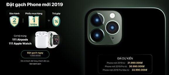 Vay tiền mua iPhone 11, 11 Max và iPhone 11 Pro Max trả góp